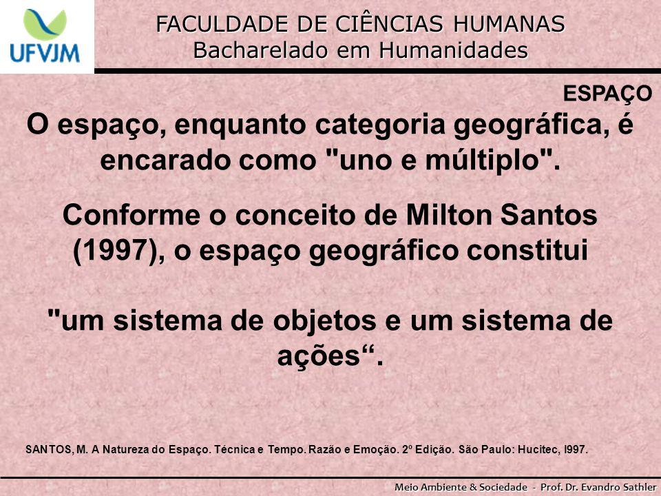 FACULDADE DE CIÊNCIAS HUMANAS Bacharelado em Humanidades Meio Ambiente & Sociedade - Prof. Dr. Evandro Sathler ESPAÇO O espaço, enquanto categoria geo