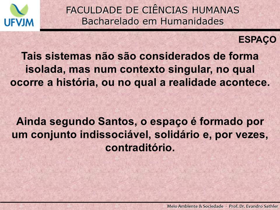 FACULDADE DE CIÊNCIAS HUMANAS Bacharelado em Humanidades Meio Ambiente & Sociedade - Prof. Dr. Evandro Sathler ESPAÇO Tais sistemas não são considerad