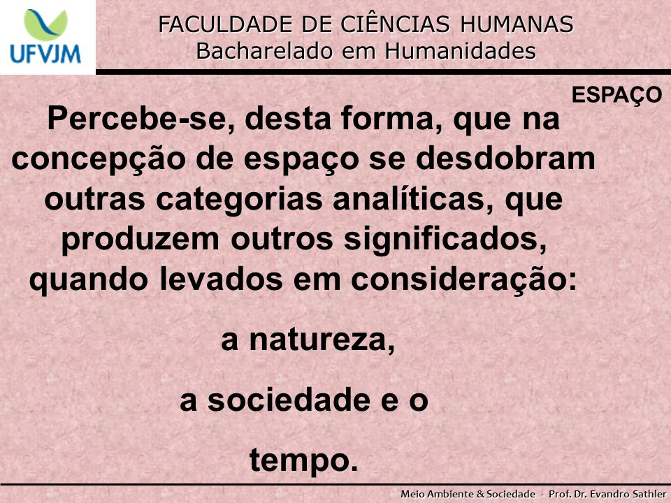 FACULDADE DE CIÊNCIAS HUMANAS Bacharelado em Humanidades Meio Ambiente & Sociedade - Prof. Dr. Evandro Sathler ESPAÇO Percebe-se, desta forma, que na