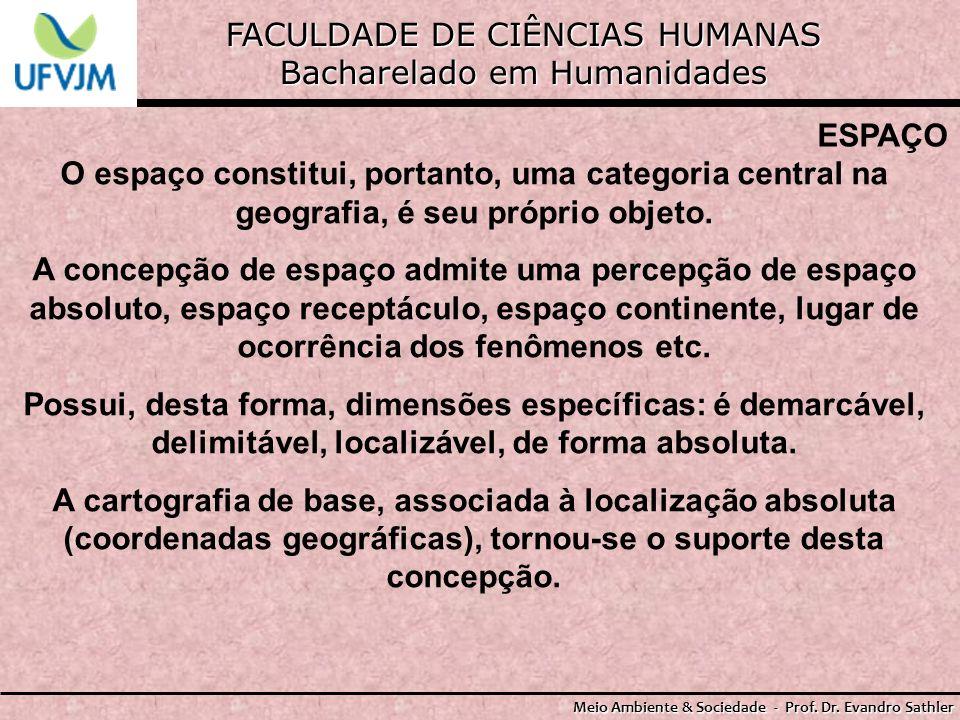 FACULDADE DE CIÊNCIAS HUMANAS Bacharelado em Humanidades Meio Ambiente & Sociedade - Prof. Dr. Evandro Sathler ESPAÇO O espaço constitui, portanto, um