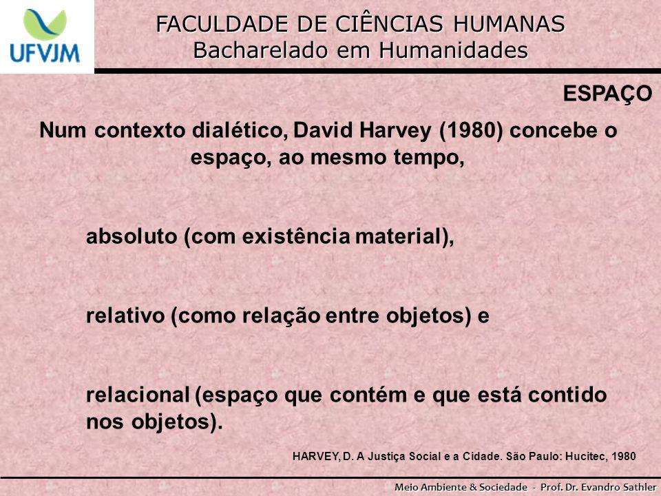 FACULDADE DE CIÊNCIAS HUMANAS Bacharelado em Humanidades Meio Ambiente & Sociedade - Prof. Dr. Evandro Sathler ESPAÇO Num contexto dialético, David Ha