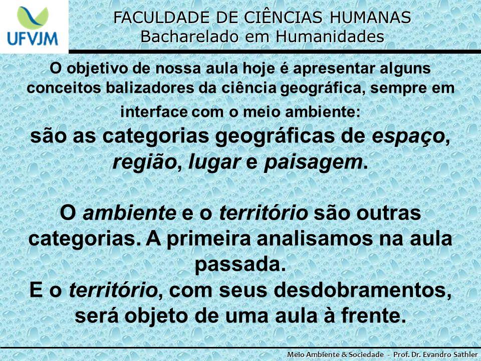 FACULDADE DE CIÊNCIAS HUMANAS Bacharelado em Humanidades Meio Ambiente & Sociedade - Prof. Dr. Evandro Sathler O objetivo de nossa aula hoje é apresen