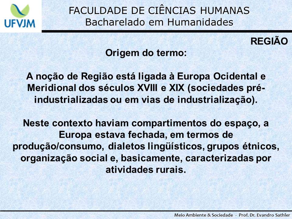 FACULDADE DE CIÊNCIAS HUMANAS Bacharelado em Humanidades Meio Ambiente & Sociedade - Prof. Dr. Evandro Sathler REGIÃO Origem do termo: A noção de Regi