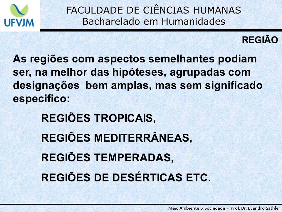 FACULDADE DE CIÊNCIAS HUMANAS Bacharelado em Humanidades Meio Ambiente & Sociedade - Prof. Dr. Evandro Sathler REGIÃO As regiões com aspectos semelhan