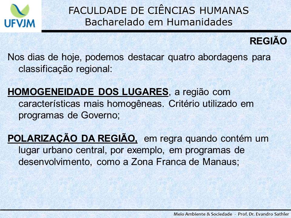 FACULDADE DE CIÊNCIAS HUMANAS Bacharelado em Humanidades Meio Ambiente & Sociedade - Prof. Dr. Evandro Sathler REGIÃO Nos dias de hoje, podemos destac