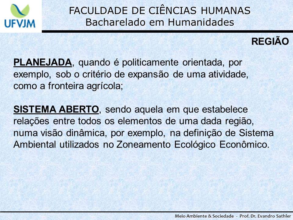 FACULDADE DE CIÊNCIAS HUMANAS Bacharelado em Humanidades Meio Ambiente & Sociedade - Prof. Dr. Evandro Sathler REGIÃO PLANEJADA, quando é politicament
