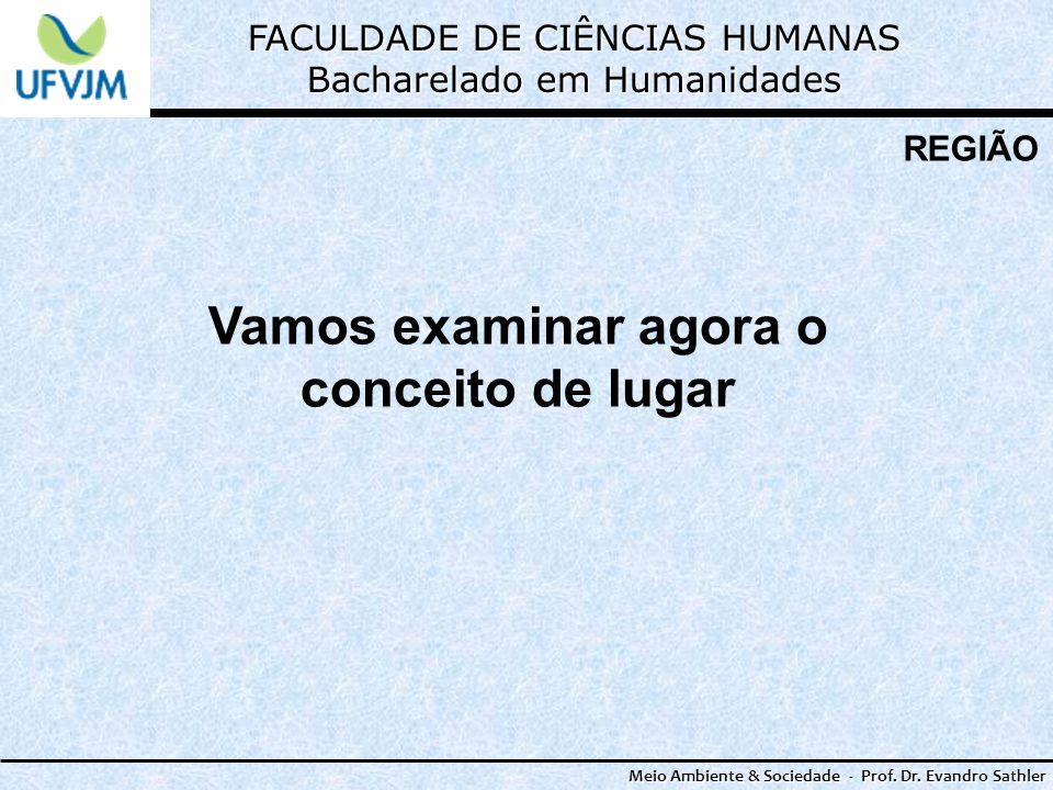 FACULDADE DE CIÊNCIAS HUMANAS Bacharelado em Humanidades Meio Ambiente & Sociedade - Prof. Dr. Evandro Sathler REGIÃO Vamos examinar agora o conceito