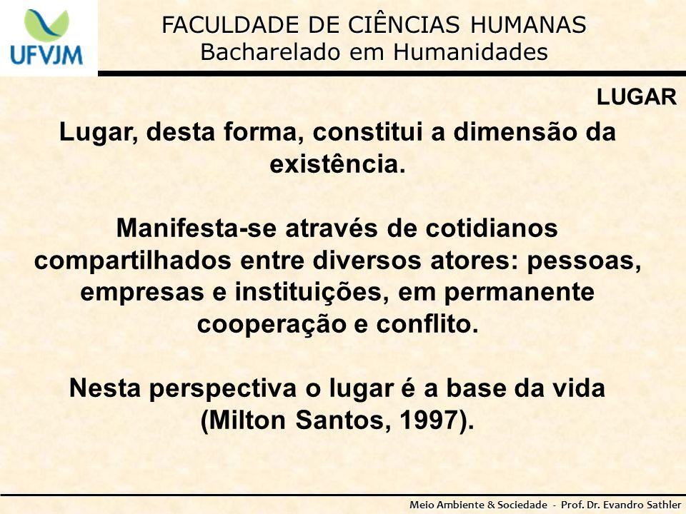 FACULDADE DE CIÊNCIAS HUMANAS Bacharelado em Humanidades Meio Ambiente & Sociedade - Prof. Dr. Evandro Sathler LUGAR Lugar, desta forma, constitui a d