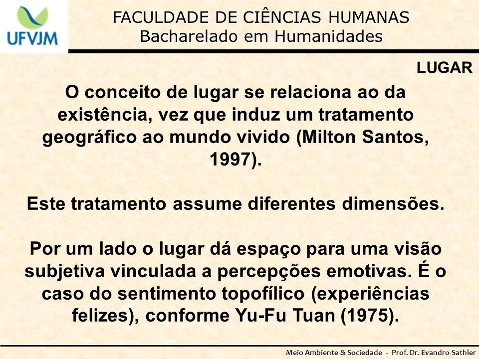 FACULDADE DE CIÊNCIAS HUMANAS Bacharelado em Humanidades Meio Ambiente & Sociedade - Prof. Dr. Evandro Sathler LUGAR O conceito de lugar se relaciona