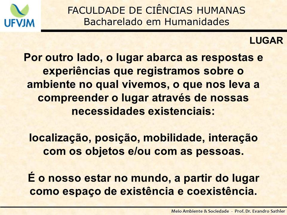 FACULDADE DE CIÊNCIAS HUMANAS Bacharelado em Humanidades Meio Ambiente & Sociedade - Prof. Dr. Evandro Sathler LUGAR Por outro lado, o lugar abarca as