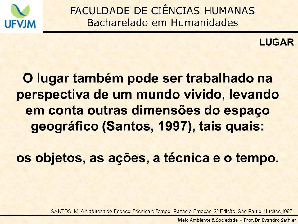 FACULDADE DE CIÊNCIAS HUMANAS Bacharelado em Humanidades Meio Ambiente & Sociedade - Prof. Dr. Evandro Sathler LUGAR O lugar também pode ser trabalhad