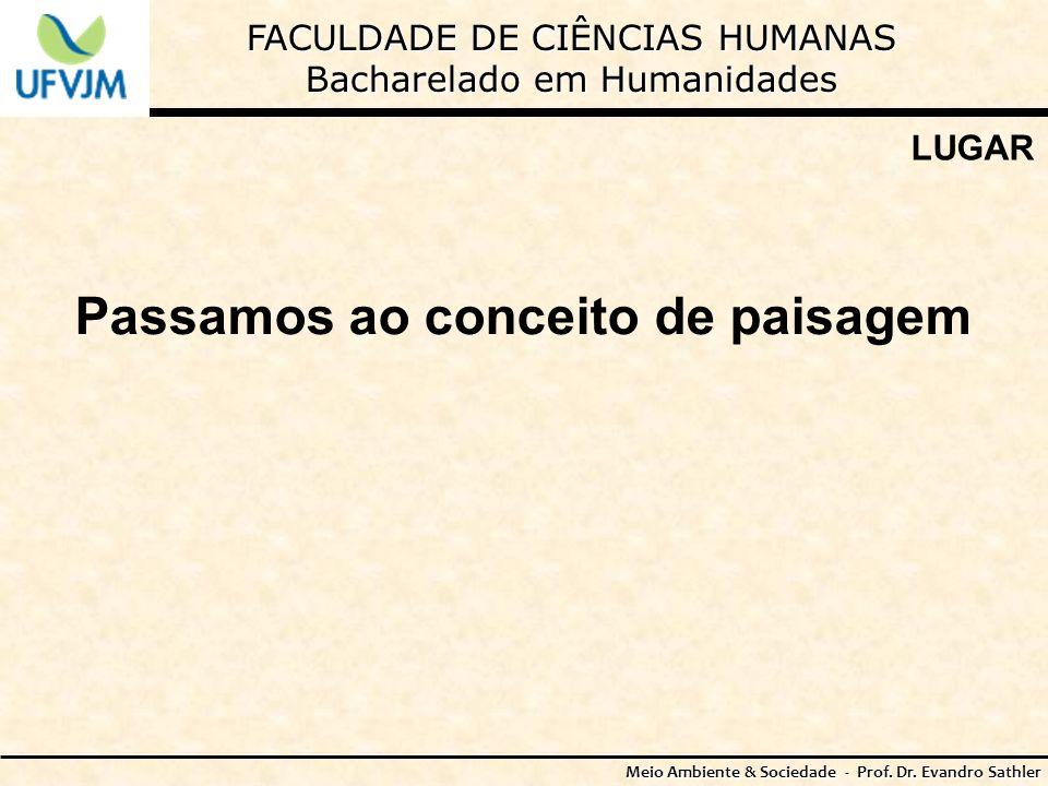 FACULDADE DE CIÊNCIAS HUMANAS Bacharelado em Humanidades Meio Ambiente & Sociedade - Prof. Dr. Evandro Sathler LUGAR Passamos ao conceito de paisagem