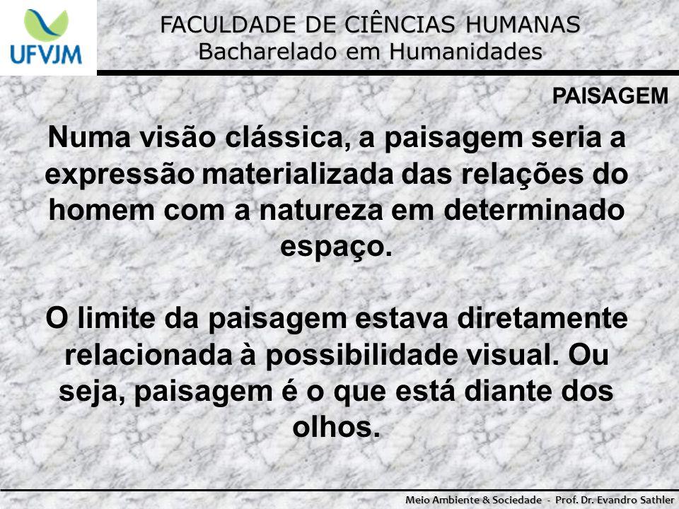 FACULDADE DE CIÊNCIAS HUMANAS Bacharelado em Humanidades Meio Ambiente & Sociedade - Prof. Dr. Evandro Sathler PAISAGEM Numa visão clássica, a paisage