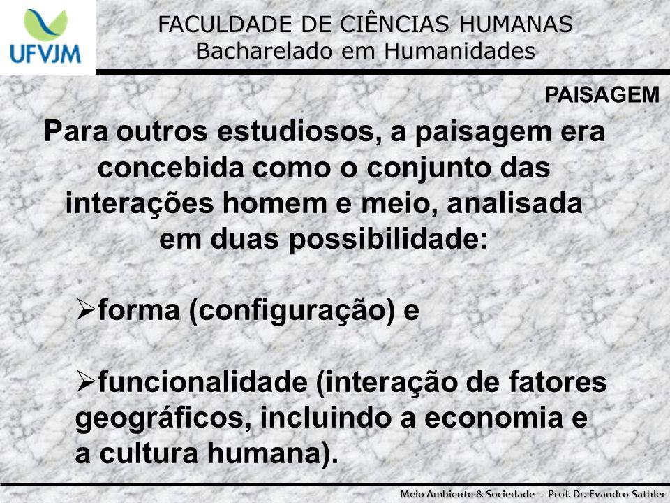 FACULDADE DE CIÊNCIAS HUMANAS Bacharelado em Humanidades Meio Ambiente & Sociedade - Prof. Dr. Evandro Sathler PAISAGEM Para outros estudiosos, a pais