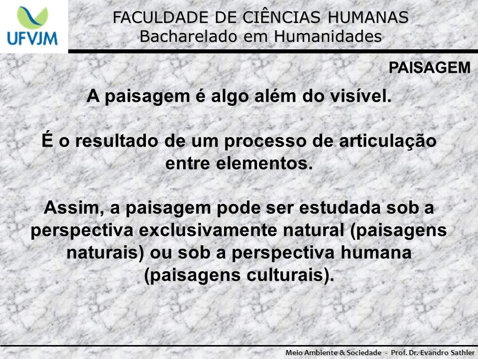 FACULDADE DE CIÊNCIAS HUMANAS Bacharelado em Humanidades Meio Ambiente & Sociedade - Prof. Dr. Evandro Sathler PAISAGEM A paisagem é algo além do visí