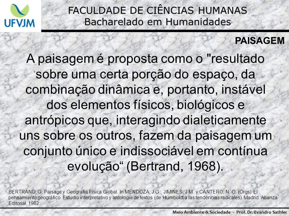 FACULDADE DE CIÊNCIAS HUMANAS Bacharelado em Humanidades Meio Ambiente & Sociedade - Prof. Dr. Evandro Sathler PAISAGEM A paisagem é proposta como o