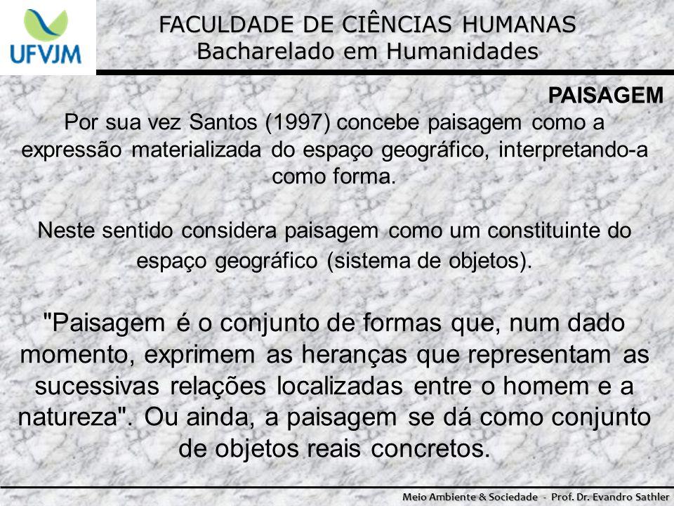 FACULDADE DE CIÊNCIAS HUMANAS Bacharelado em Humanidades Meio Ambiente & Sociedade - Prof. Dr. Evandro Sathler PAISAGEM Por sua vez Santos (1997) conc