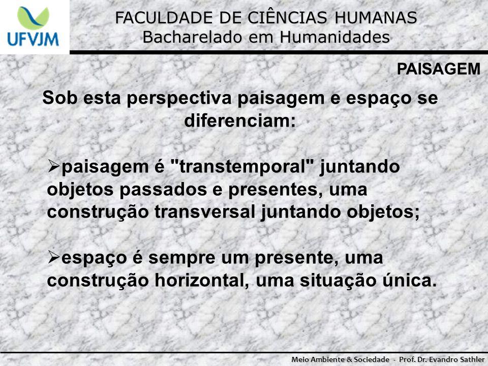 FACULDADE DE CIÊNCIAS HUMANAS Bacharelado em Humanidades Meio Ambiente & Sociedade - Prof. Dr. Evandro Sathler PAISAGEM Sob esta perspectiva paisagem