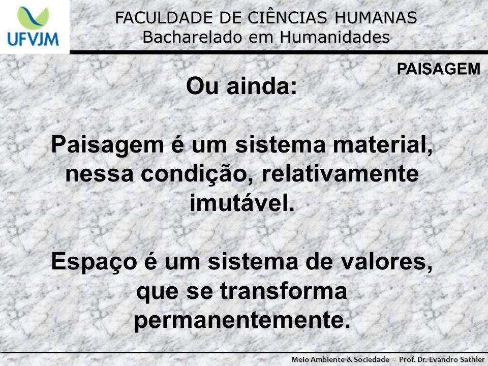FACULDADE DE CIÊNCIAS HUMANAS Bacharelado em Humanidades Meio Ambiente & Sociedade - Prof. Dr. Evandro Sathler PAISAGEM Ou ainda: Paisagem é um sistem