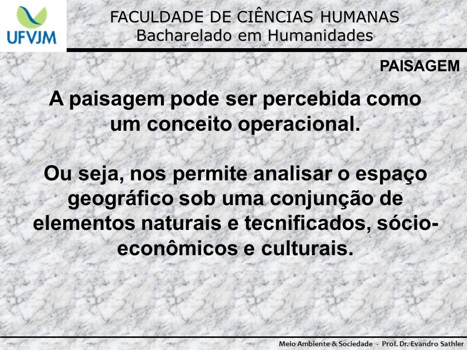 FACULDADE DE CIÊNCIAS HUMANAS Bacharelado em Humanidades Meio Ambiente & Sociedade - Prof. Dr. Evandro Sathler PAISAGEM A paisagem pode ser percebida