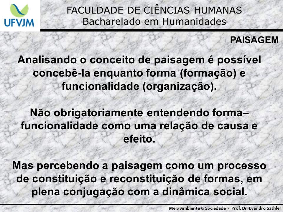 FACULDADE DE CIÊNCIAS HUMANAS Bacharelado em Humanidades Meio Ambiente & Sociedade - Prof. Dr. Evandro Sathler PAISAGEM Analisando o conceito de paisa