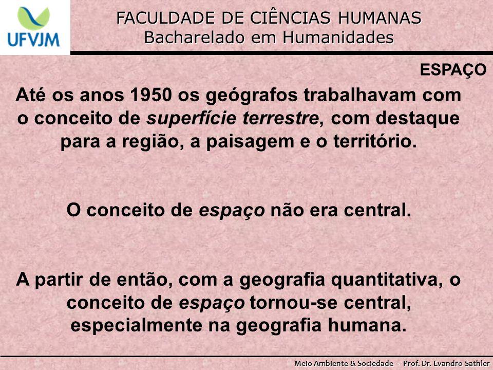 FACULDADE DE CIÊNCIAS HUMANAS Bacharelado em Humanidades Meio Ambiente & Sociedade - Prof. Dr. Evandro Sathler ESPAÇO Até os anos 1950 os geógrafos tr