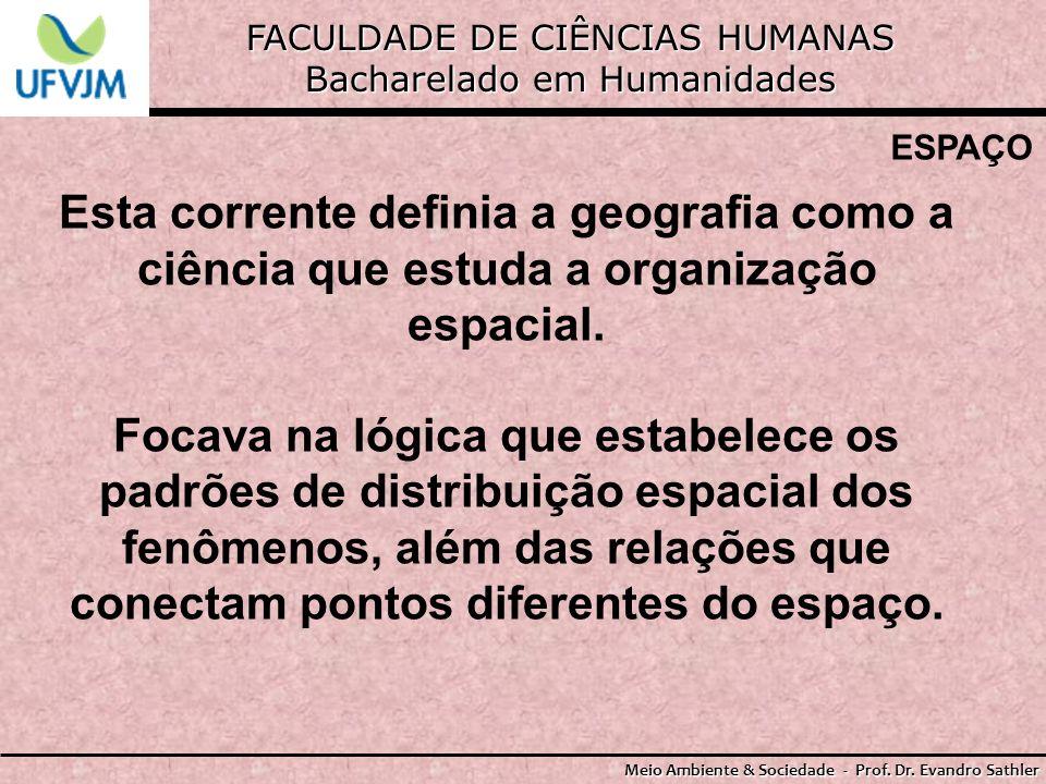 FACULDADE DE CIÊNCIAS HUMANAS Bacharelado em Humanidades Meio Ambiente & Sociedade - Prof. Dr. Evandro Sathler ESPAÇO Esta corrente definia a geografi