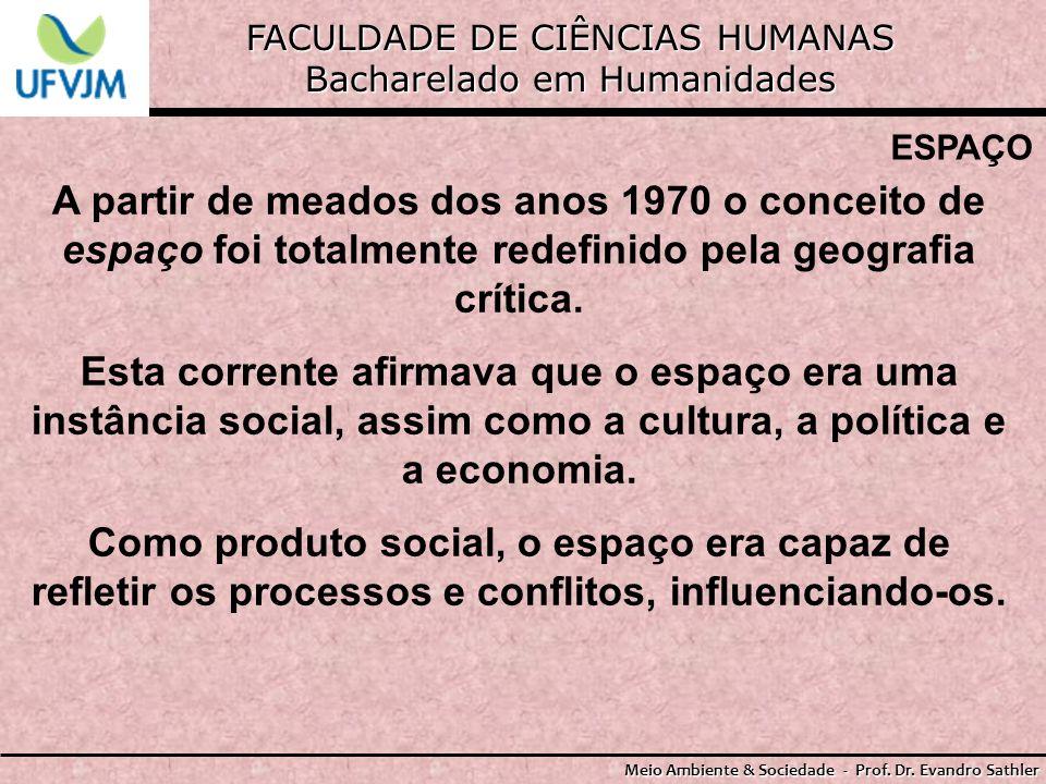 FACULDADE DE CIÊNCIAS HUMANAS Bacharelado em Humanidades Meio Ambiente & Sociedade - Prof. Dr. Evandro Sathler ESPAÇO A partir de meados dos anos 1970