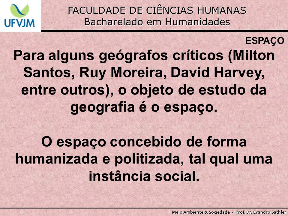 FACULDADE DE CIÊNCIAS HUMANAS Bacharelado em Humanidades Meio Ambiente & Sociedade - Prof. Dr. Evandro Sathler ESPAÇO Para alguns geógrafos críticos (