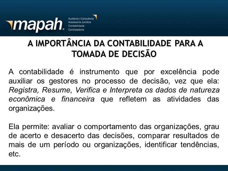 A IMPORTÂNCIA DA CONTABILIDADE PARA A TOMADA DE DECISÃO A IMPORTÂNCIA DA CONTABILIDADE PARA A TOMADA DE DECISÃO A contabilidade é instrumento que por