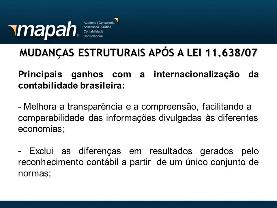 MUDANÇAS ESTRUTURAIS APÓS A LEI 11.638/07 Principais ganhos com a internacionalização da contabilidade brasileira: - Melhora a transparência e a compr