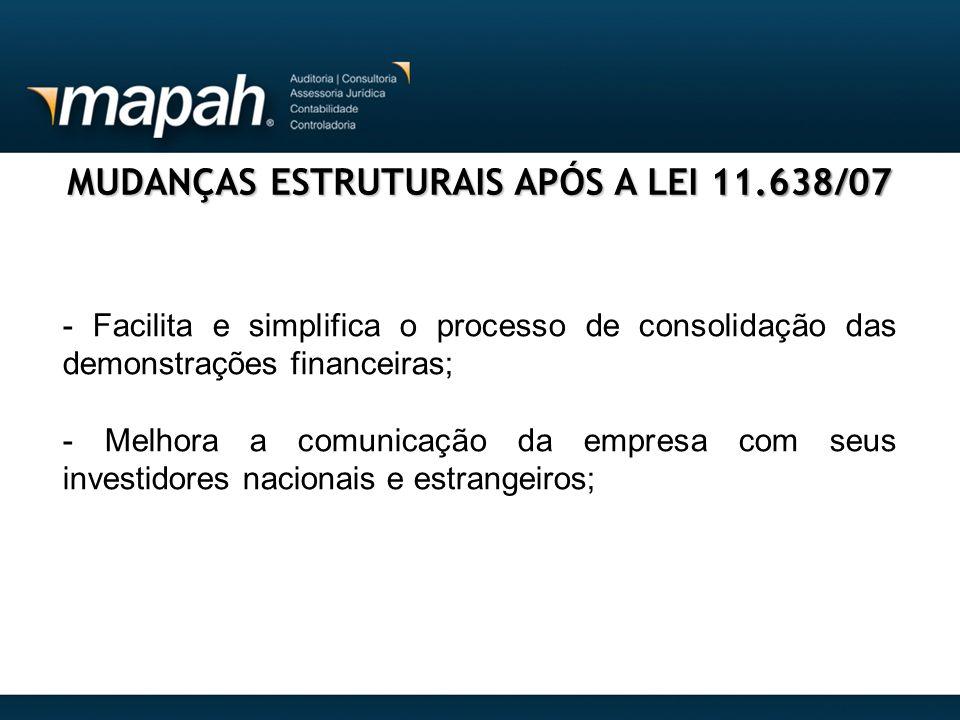 MUDANÇAS ESTRUTURAIS APÓS A LEI 11.638/07 - Facilita e simplifica o processo de consolidação das demonstrações financeiras; - Melhora a comunicação da