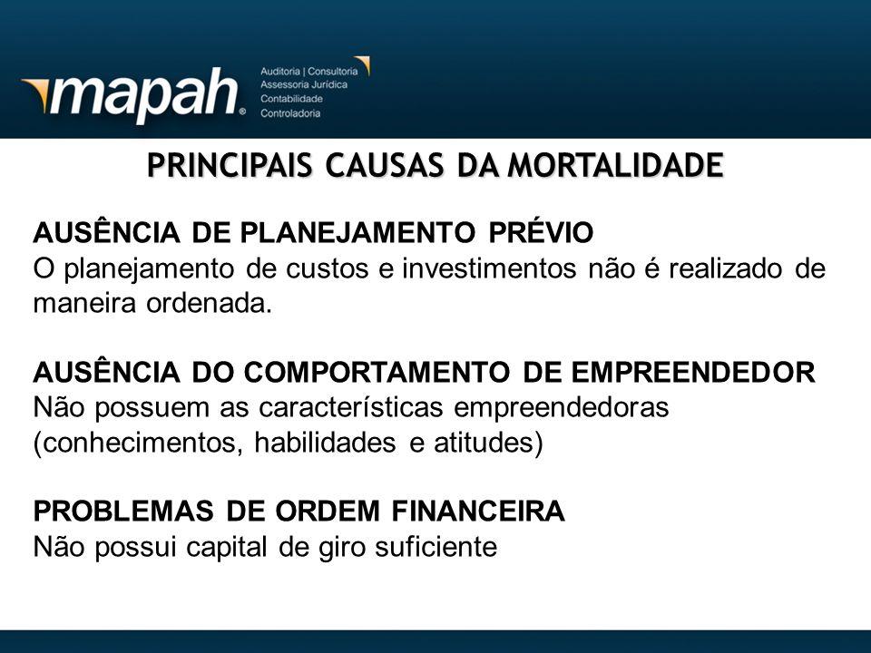PRINCIPAIS CAUSAS DA MORTALIDADE AUSÊNCIA DE PLANEJAMENTO PRÉVIO O planejamento de custos e investimentos não é realizado de maneira ordenada. AUSÊNCI