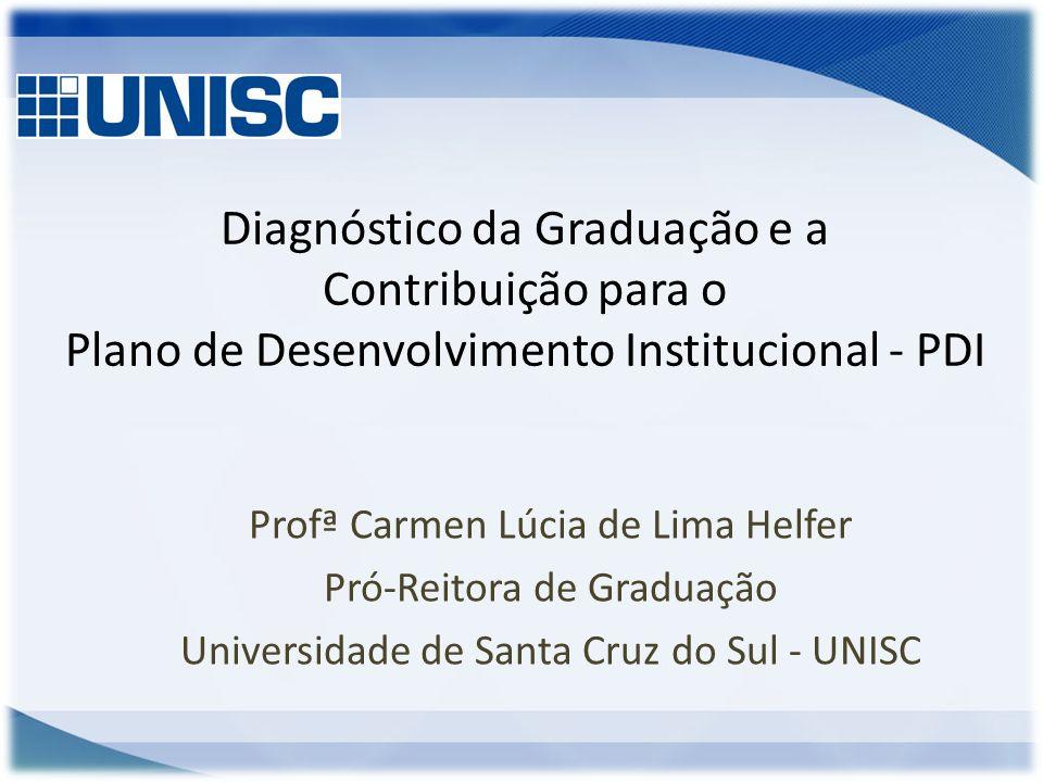 Diagnóstico da Graduação e a Contribuição para o Plano de Desenvolvimento Institucional - PDI Profª Carmen Lúcia de Lima Helfer Pró-Reitora de Graduaç