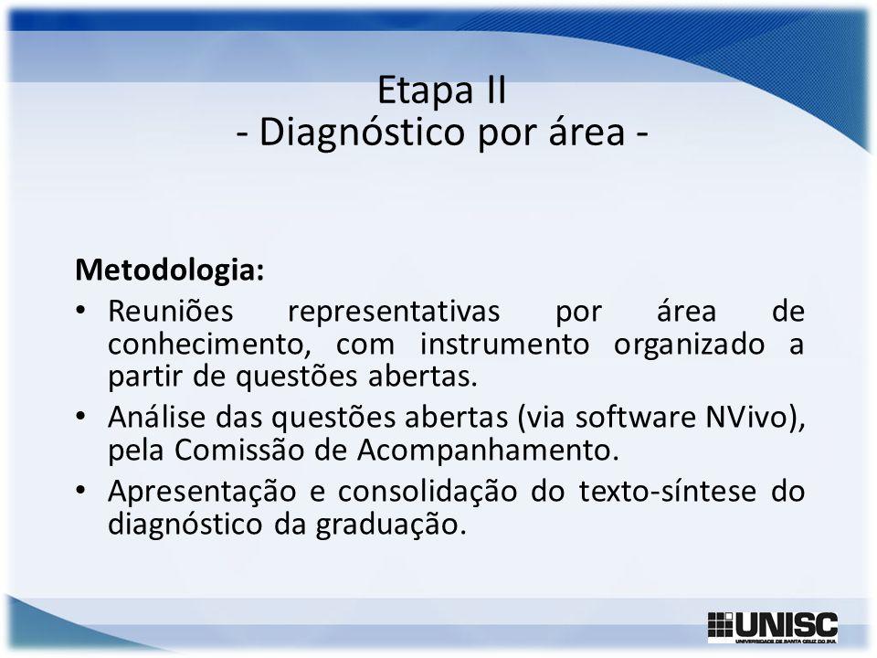 Etapa II - Diagnóstico por área - Metodologia: Reuniões representativas por área de conhecimento, com instrumento organizado a partir de questões aber