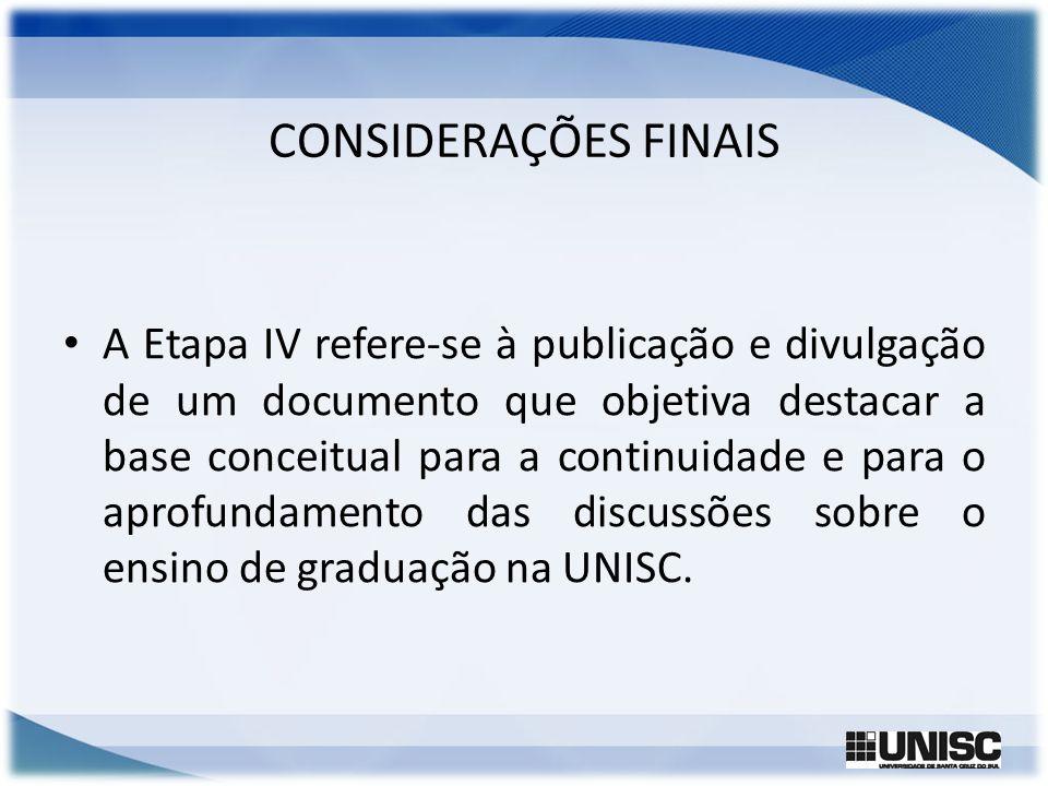 CONSIDERAÇÕES FINAIS A Etapa IV refere-se à publicação e divulgação de um documento que objetiva destacar a base conceitual para a continuidade e para