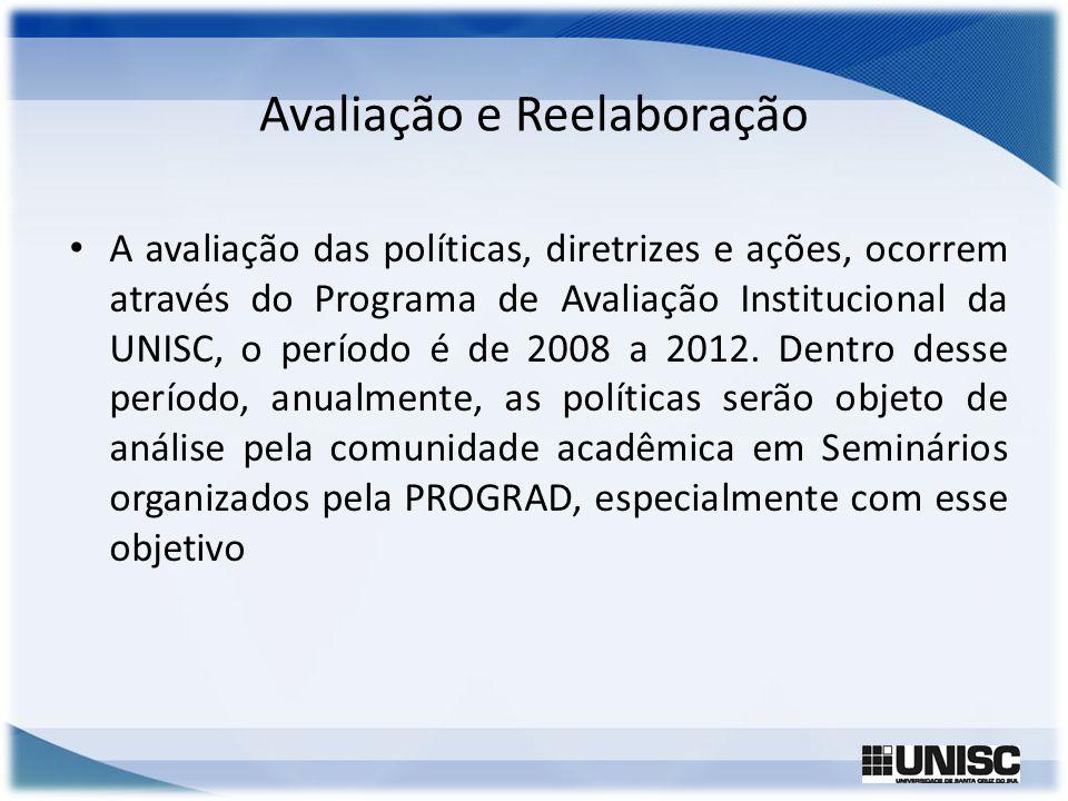 Avaliação e Reelaboração A avaliação das políticas, diretrizes e ações, ocorrem através do Programa de Avaliação Institucional da UNISC, o período é d