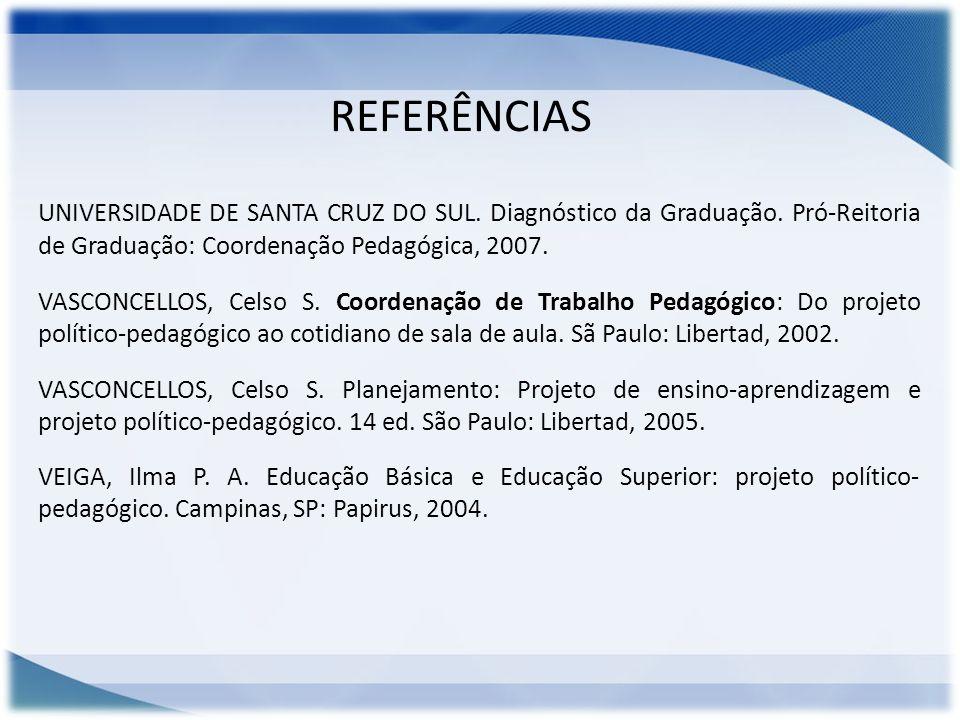 REFERÊNCIAS UNIVERSIDADE DE SANTA CRUZ DO SUL. Diagnóstico da Graduação. Pró-Reitoria de Graduação: Coordenação Pedagógica, 2007. VASCONCELLOS, Celso