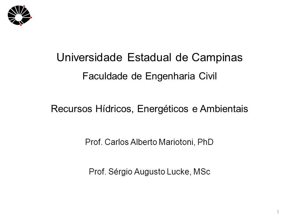 1 Universidade Estadual de Campinas Faculdade de Engenharia Civil Recursos Hídricos, Energéticos e Ambientais Prof.
