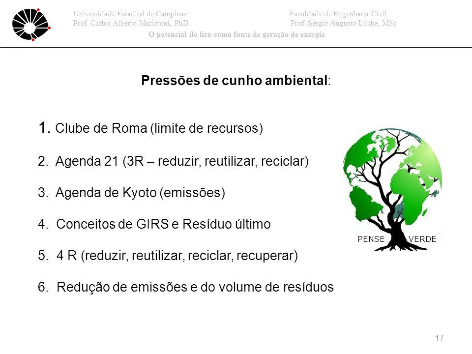 17 Pressões de cunho ambiental: 1.Clube de Roma (limite de recursos) 2.