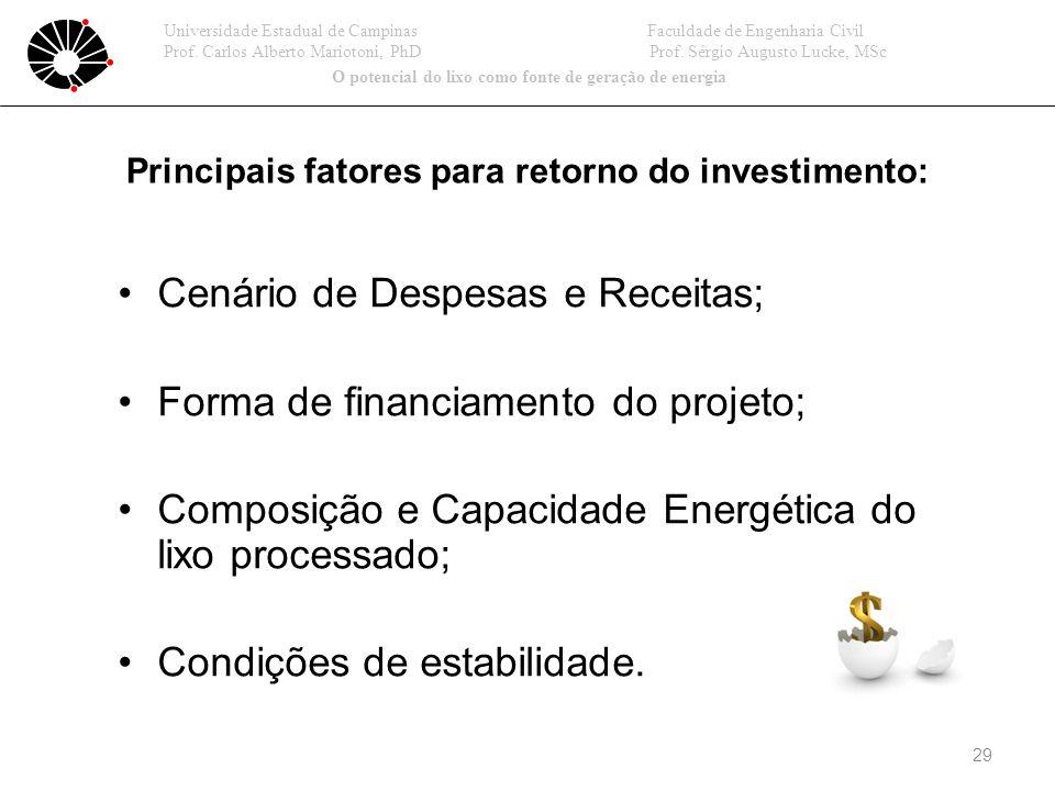 Cenário de Despesas e Receitas; Forma de financiamento do projeto; Composição e Capacidade Energética do lixo processado; Condições de estabilidade.