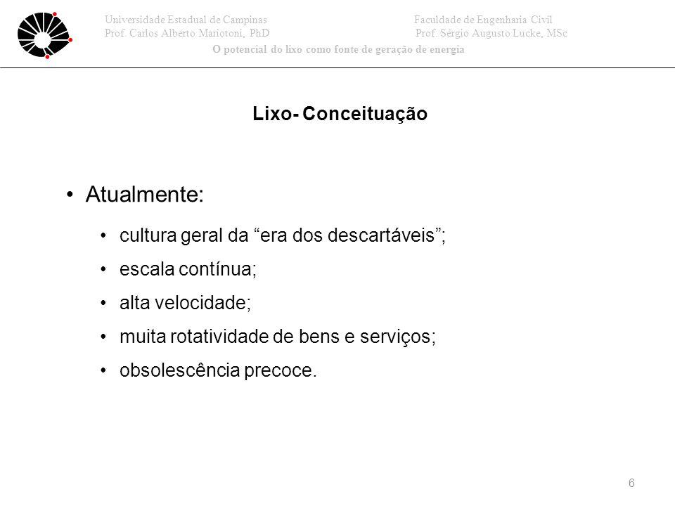 6 Lixo- Conceituação Atualmente: cultura geral da era dos descartáveis; escala contínua; alta velocidade; muita rotatividade de bens e serviços; obsolescência precoce.
