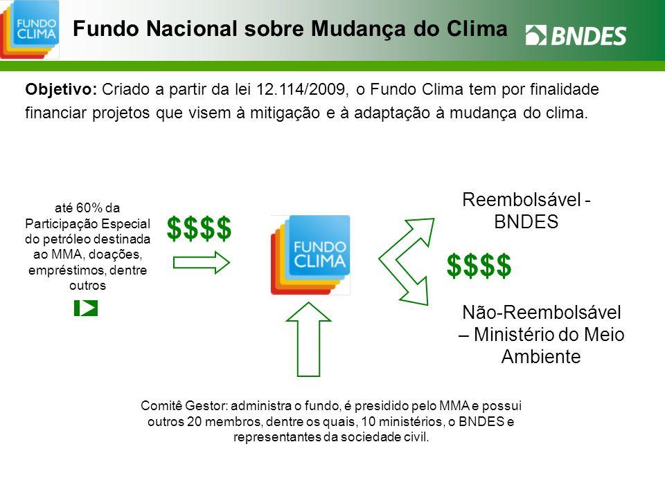 Fundo Nacional sobre Mudança do Clima Objetivo: Criado a partir da lei 12.114/2009, o Fundo Clima tem por finalidade financiar projetos que visem à mi