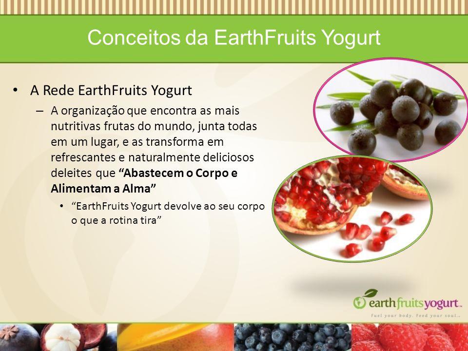 Conceitos da EarthFruits Yogurt A Rede EarthFruits Yogurt – A organização que encontra as mais nutritivas frutas do mundo, junta todas em um lugar, e as transforma em refrescantes e naturalmente deliciosos deleites que Abastecem o Corpo e Alimentam a Alma EarthFruits Yogurt devolve ao seu corpo o que a rotina tira