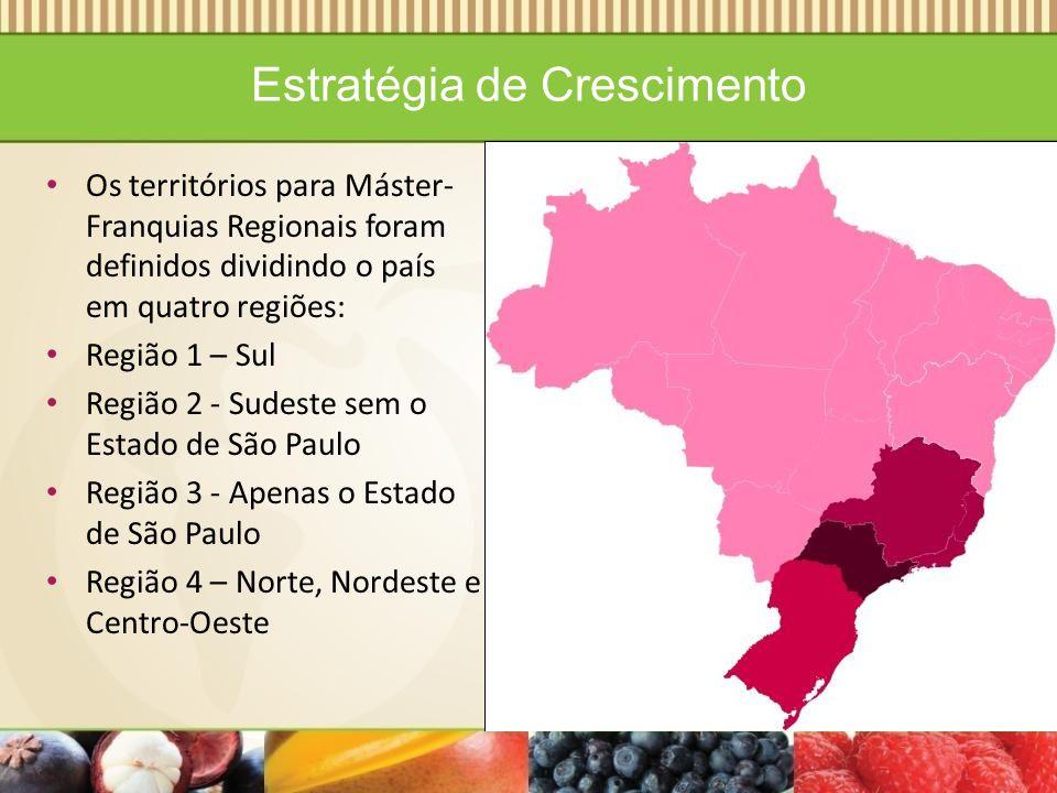 Estratégia de Crescimento Os territórios para Máster- Franquias Regionais foram definidos dividindo o país em quatro regiões: Região 1 – Sul Região 2 - Sudeste sem o Estado de São Paulo Região 3 - Apenas o Estado de São Paulo Região 4 – Norte, Nordeste e Centro-Oeste