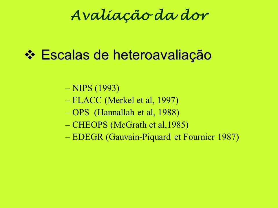Escalas de heteroavaliação Escalas de heteroavaliação –NIPS (1993) –FLACC (Merkel et al, 1997) –OPS (Hannallah et al, 1988) –CHEOPS (McGrath et al,198