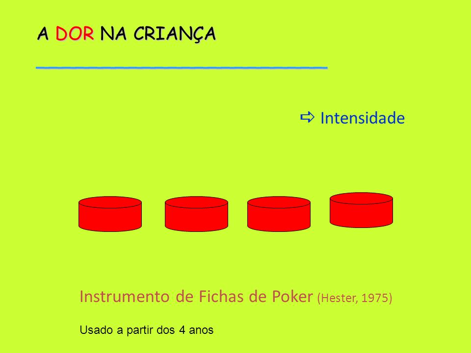 A DOR NA CRIANÇA ______________________ Instrumento de Fichas de Poker (Hester, 1975) Usado a partir dos 4 anos Intensidade