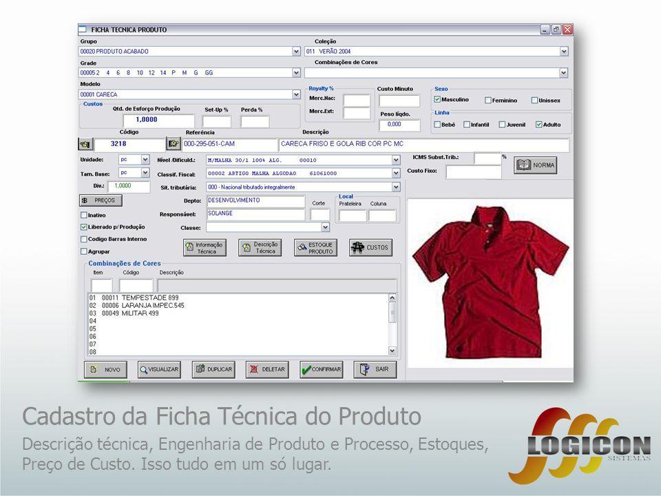 Cadastro da Ficha Técnica do Produto Descrição técnica, Engenharia de Produto e Processo, Estoques, Preço de Custo. Isso tudo em um só lugar.