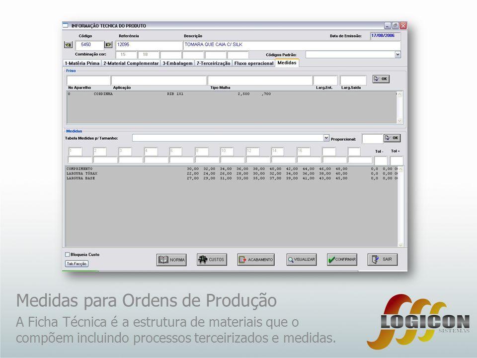 Medidas para Ordens de Produção A Ficha Técnica é a estrutura de materiais que o compõem incluindo processos terceirizados e medidas.