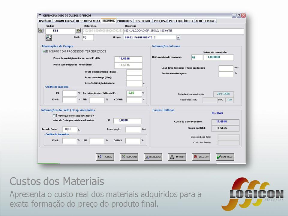 Custos dos Materiais Apresenta o custo real dos materiais adquiridos para a exata formação do preço do produto final.